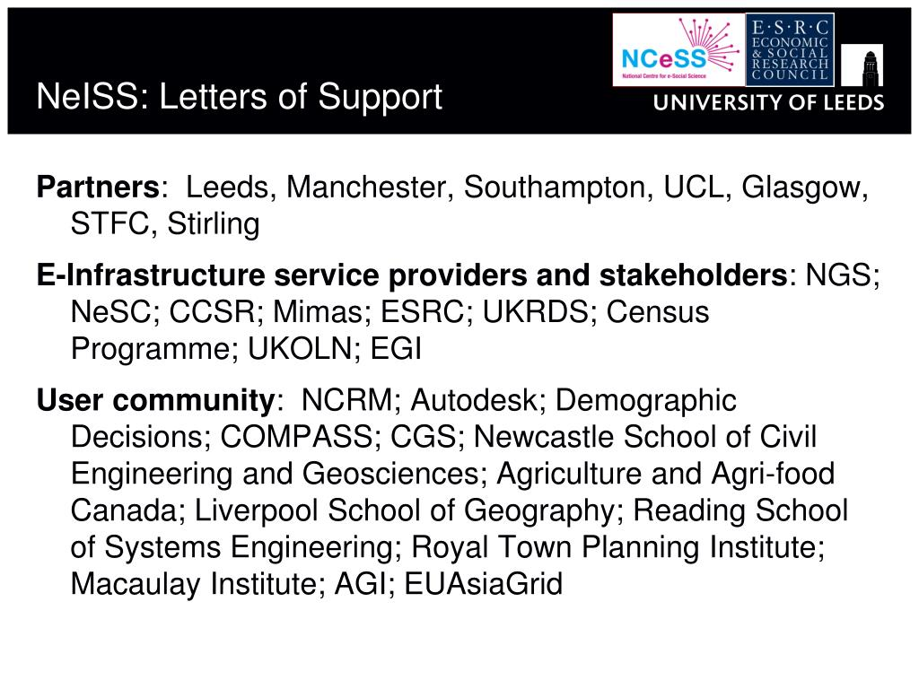 NeISS: Letters of Support