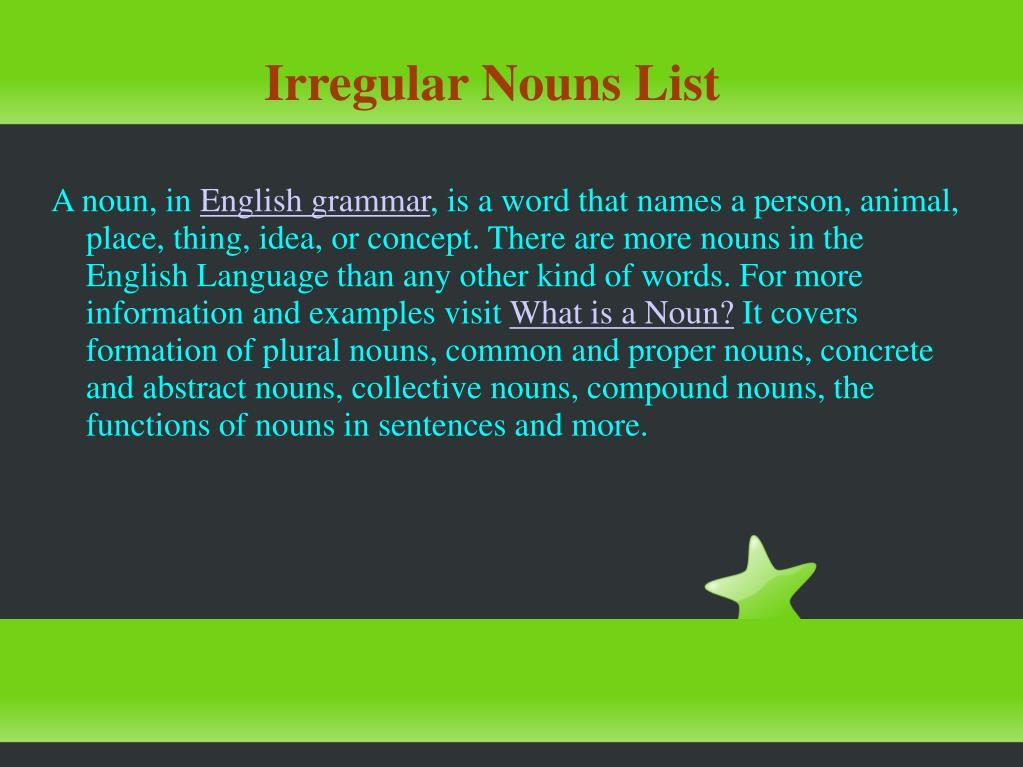 Irregular Nouns List