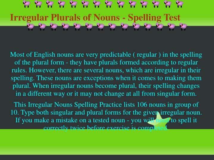 Irregular plurals of nouns spelling test
