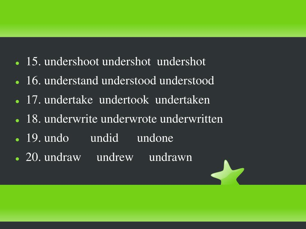 15. undershoot undershot  undershot