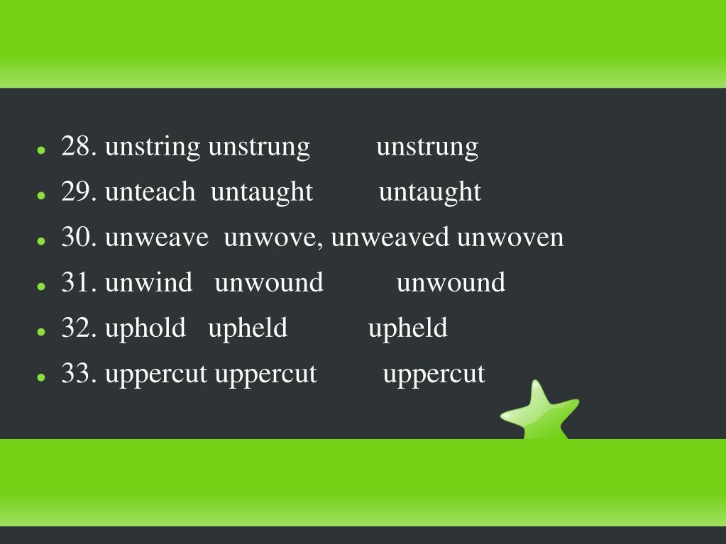 28. unstring unstrung         unstrung