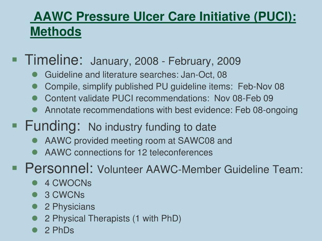 AAWC Pressure Ulcer Care Initiative (PUCI): Methods