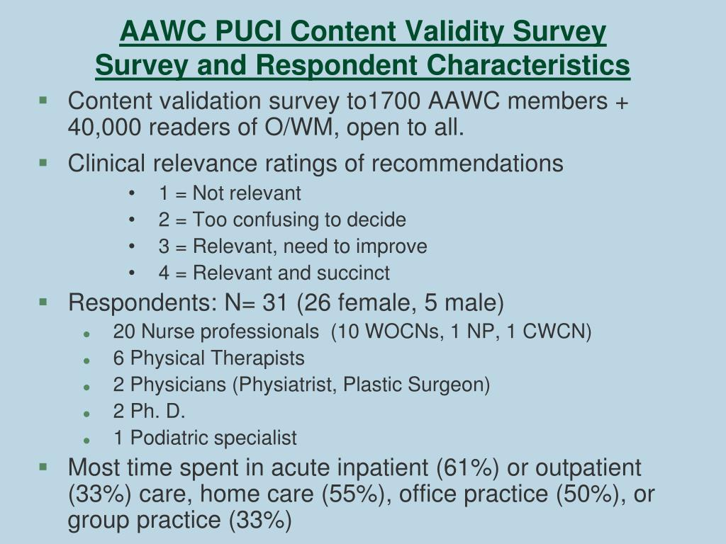 AAWC PUCI Content Validity Survey