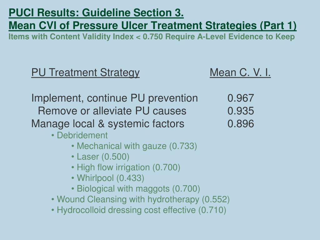 PUCI Results: Guideline Section 3.
