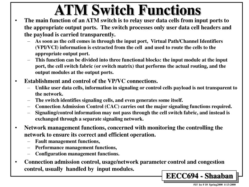 ATM Switch Functions