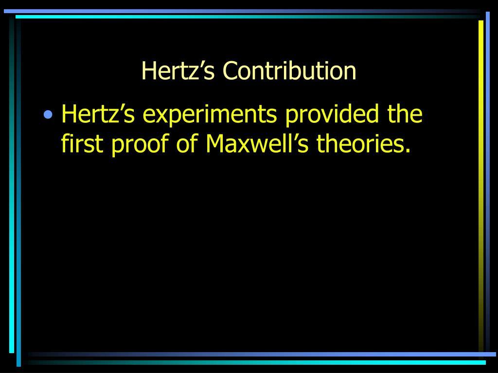 Hertz's Contribution
