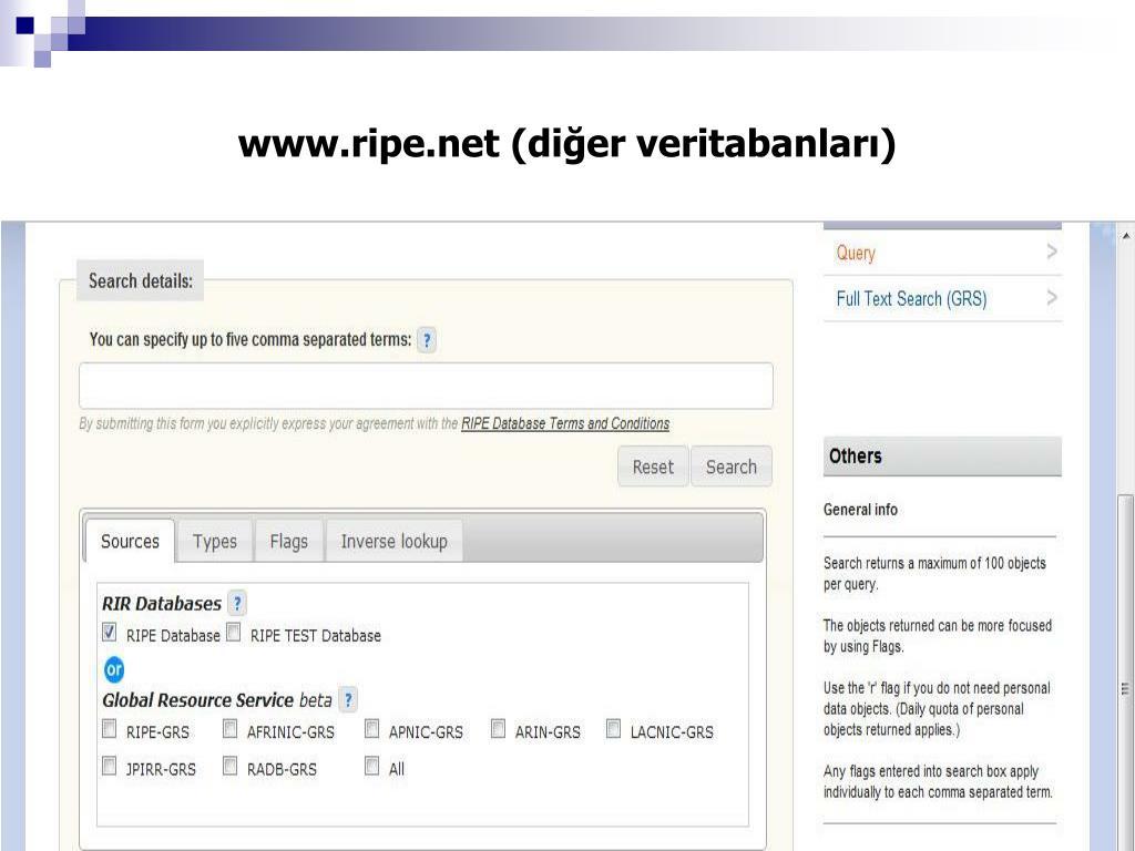 www.ripe.net (diğer veritabanları)