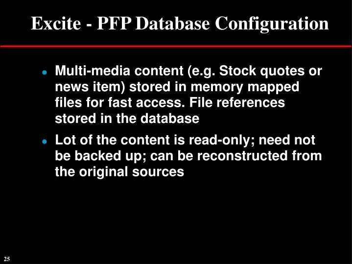Excite - PFP Database Configuration