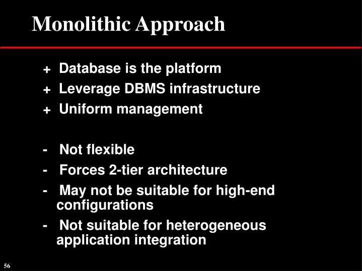 Monolithic Approach