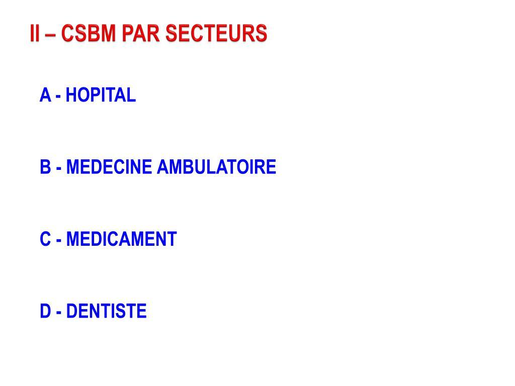 II – CSBM PAR SECTEURS