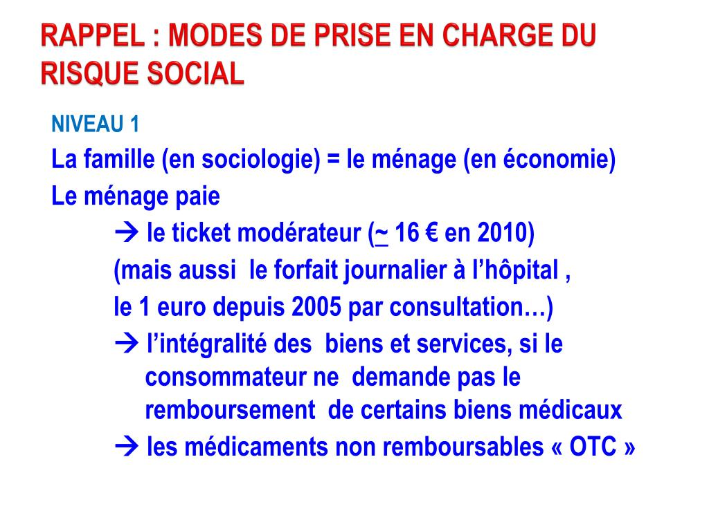 RAPPEL : MODES DE PRISE EN CHARGE DU RISQUE SOCIAL