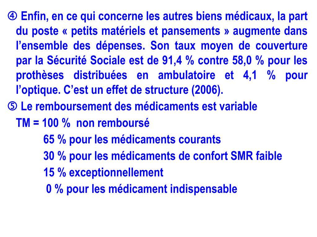  Enfin, en ce qui concerne les autres biens médicaux, la part du poste «petits matériels et pansements» augmente dans l'ensemble des dépenses. Son taux moyen de couverture par la Sécurité Sociale est de 91,4 % contre 58,0 % pour les prothèses distribuées en ambulatoire et 4,1 % pour l'optique. C'est un effet de structure (2006).