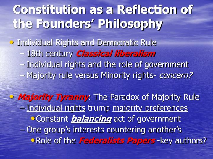 Constitution as a Reflection of the Founders' Philosophy