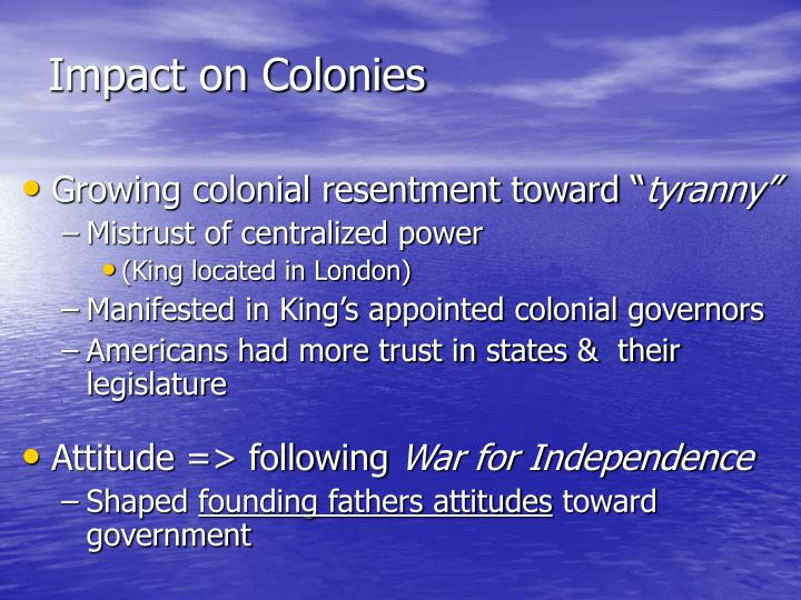 Impact on Colonies