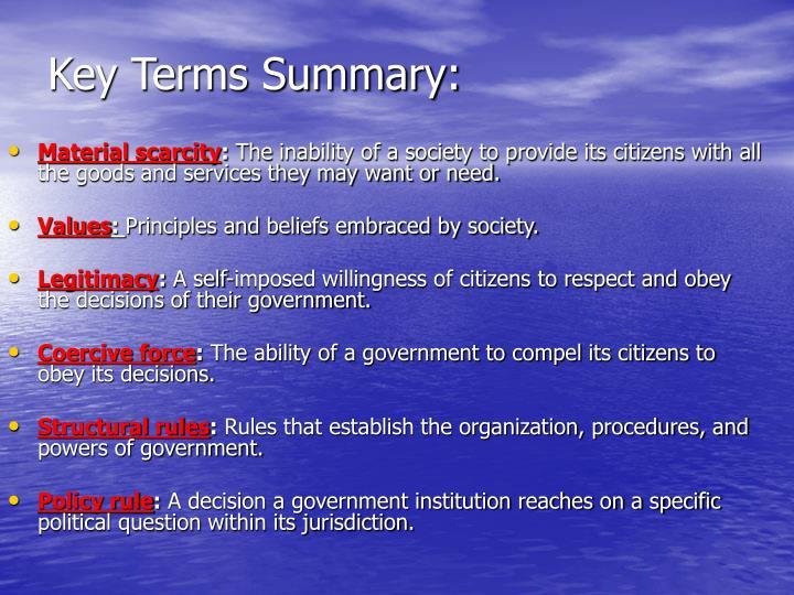 Key Terms Summary:
