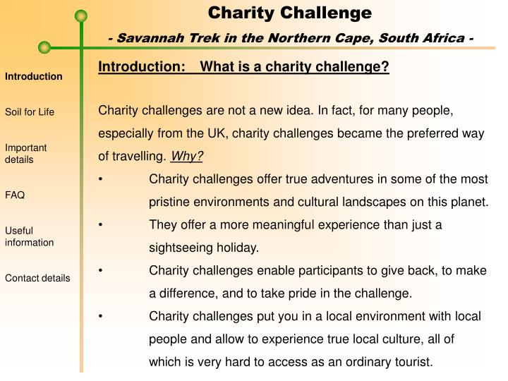 Introduction:	What is a charity challenge?