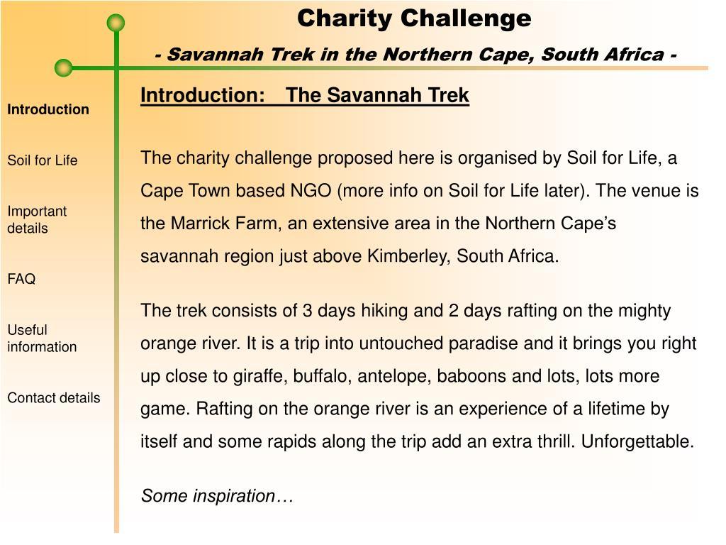 Introduction:The Savannah Trek