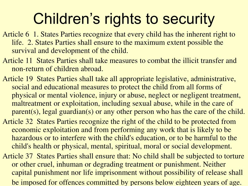 Children's rights to security