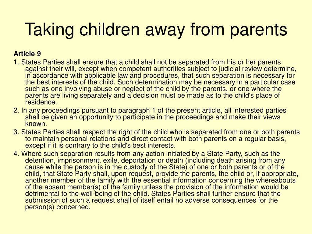 Taking children away from parents