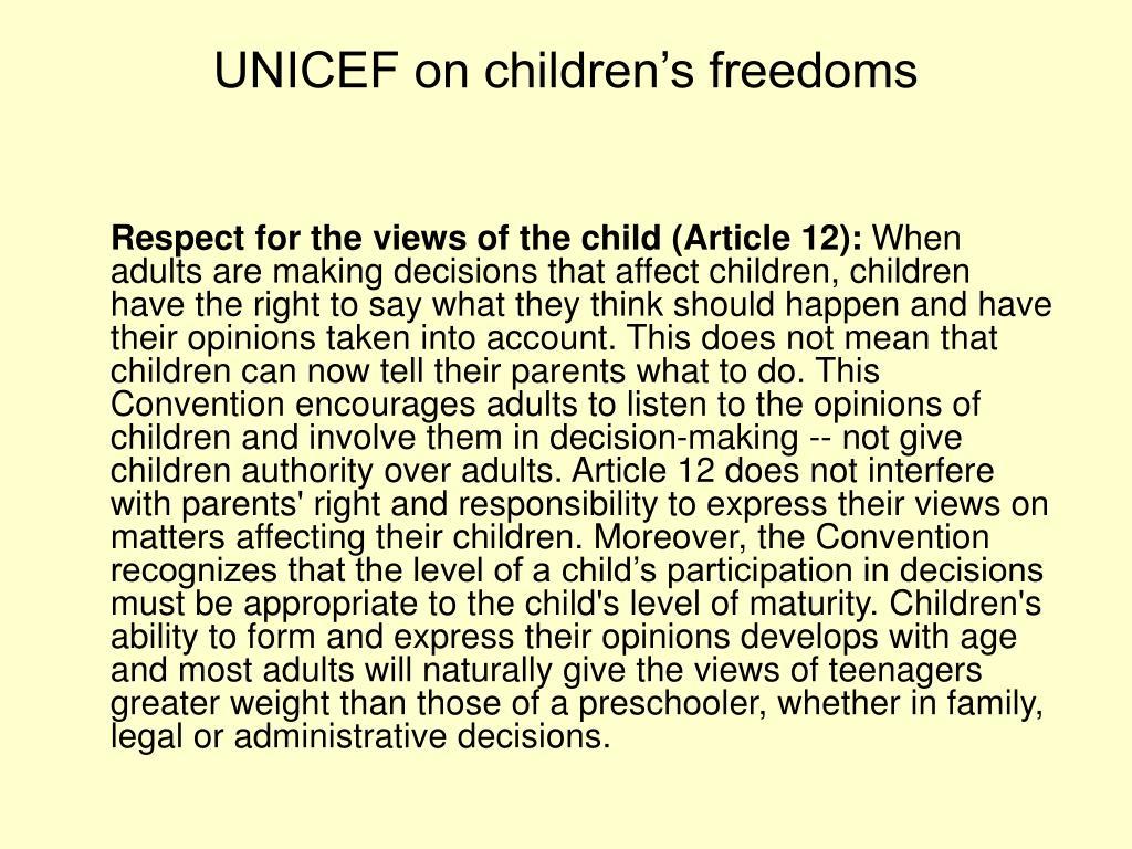 UNICEF on children's freedoms