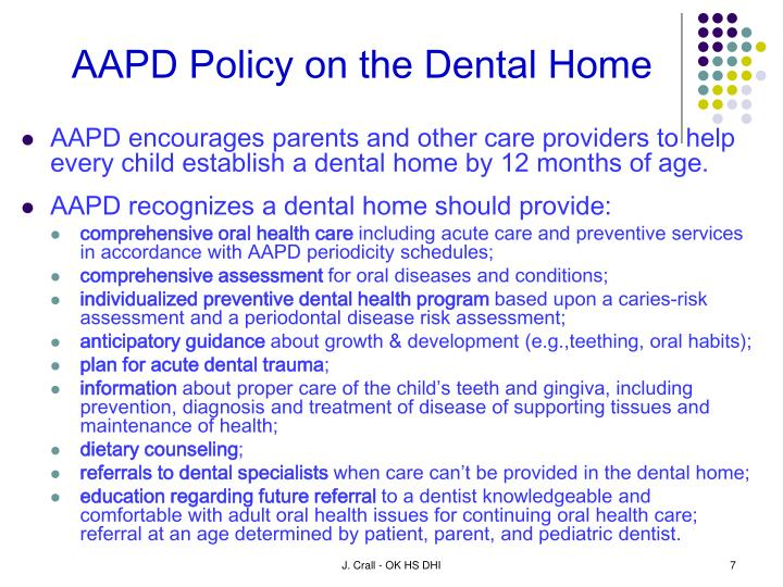 AAPD Policy on the Dental Home