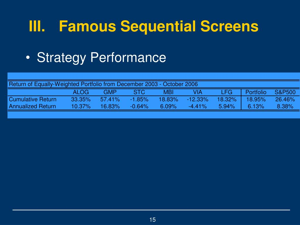 III.Famous Sequential Screens
