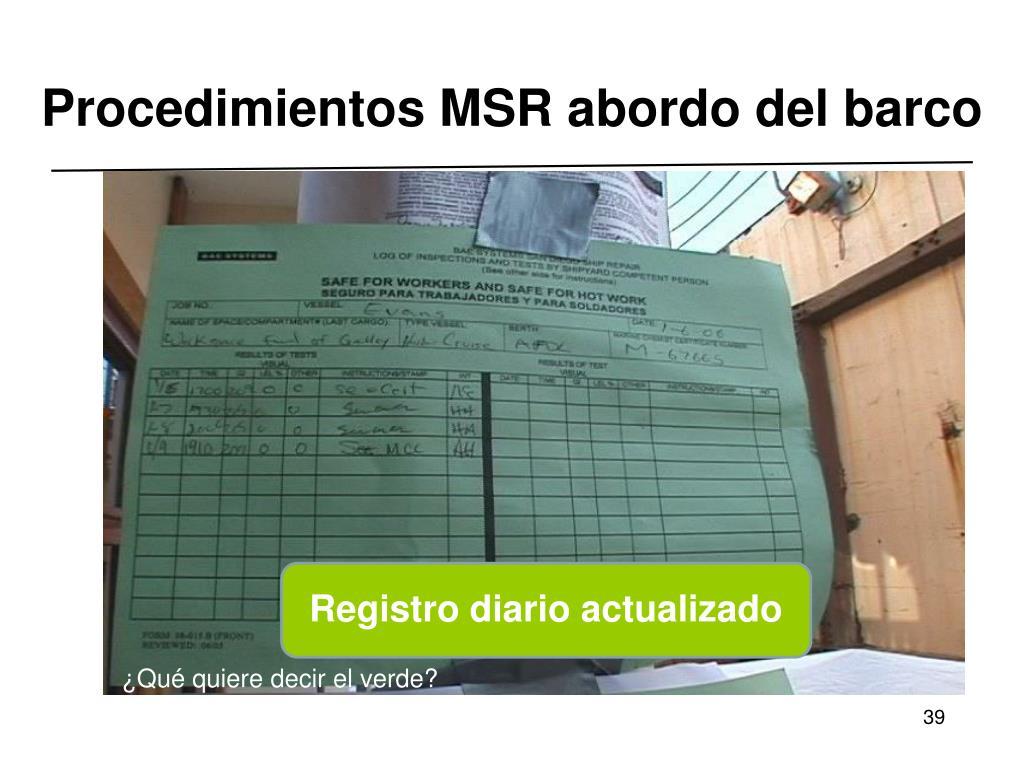 Procedimientos MSR abordo del barco