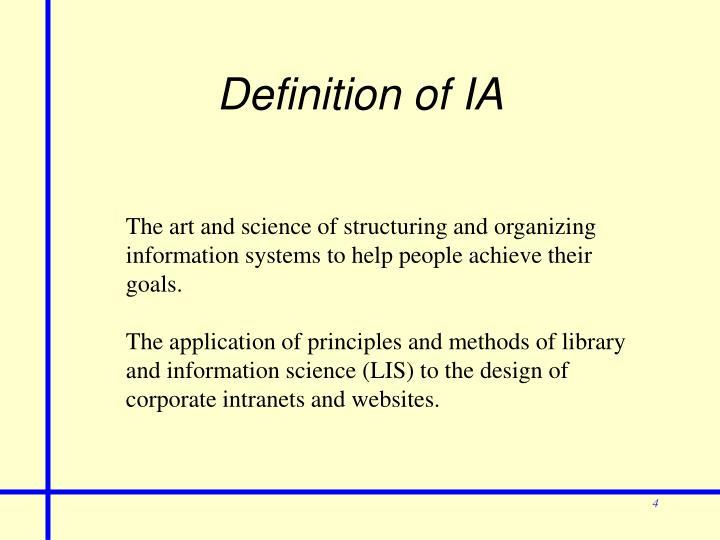 Definition of IA