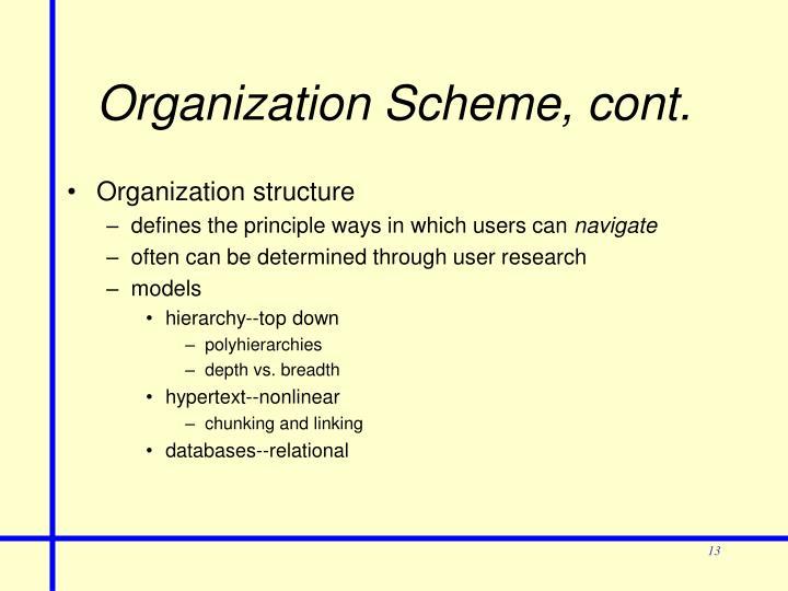 Organization Scheme, cont.