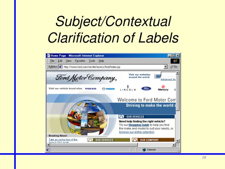 Subject/Contextual Clarification of Labels