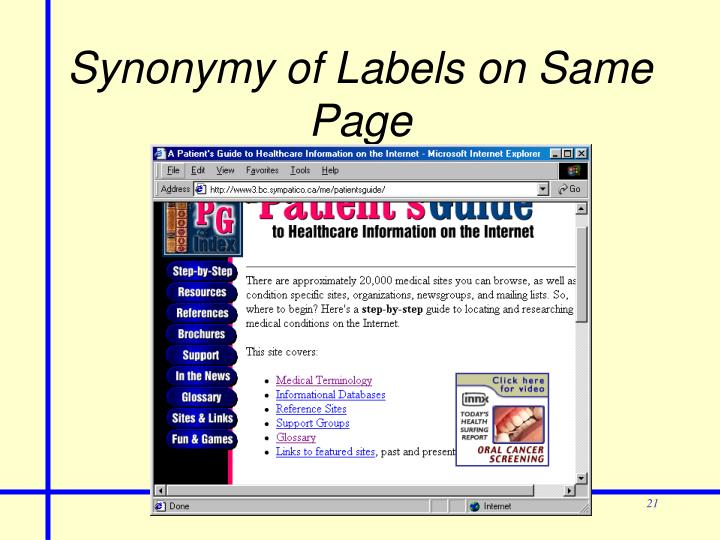 Synonymy of Labels on Same Page