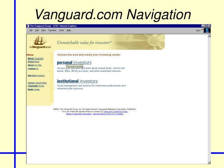 Vanguard.com Navigation