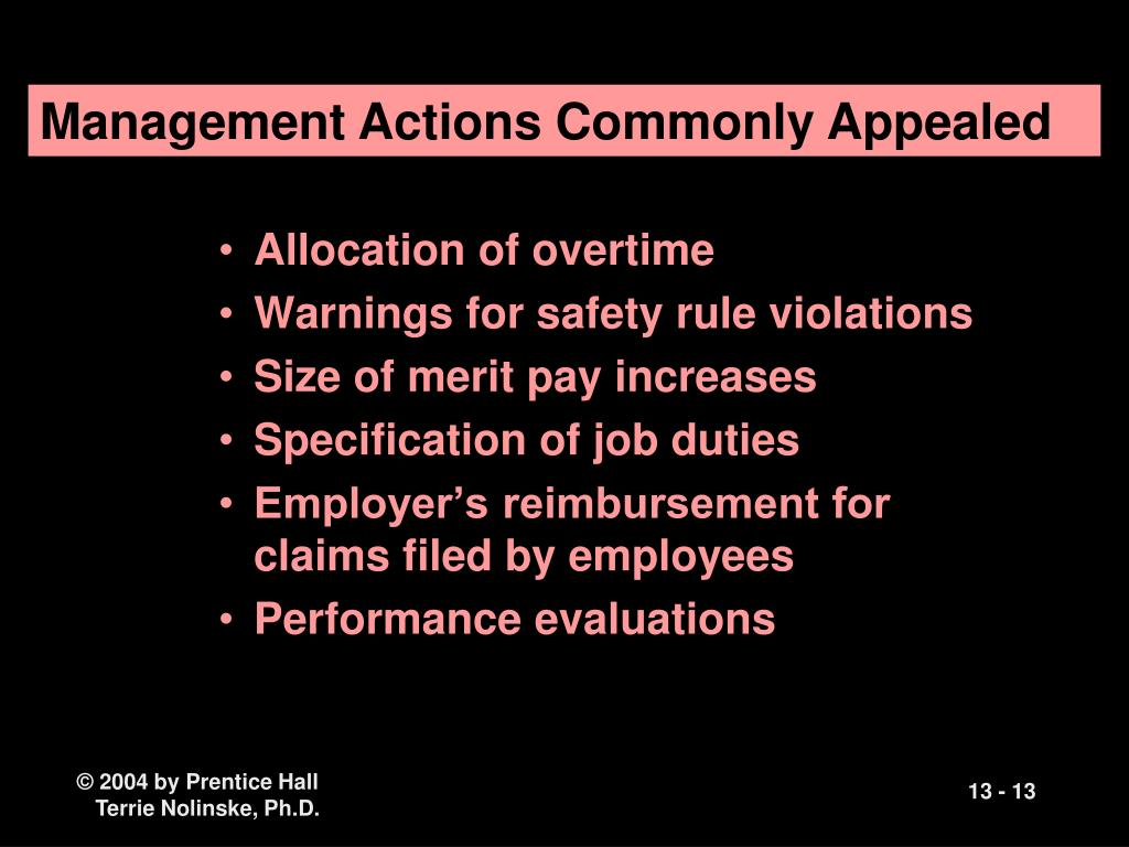 Management Actions Commonly Appealed