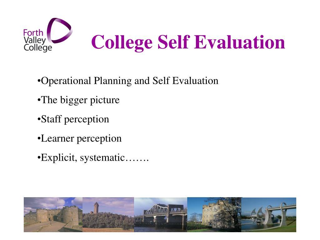 College Self Evaluation