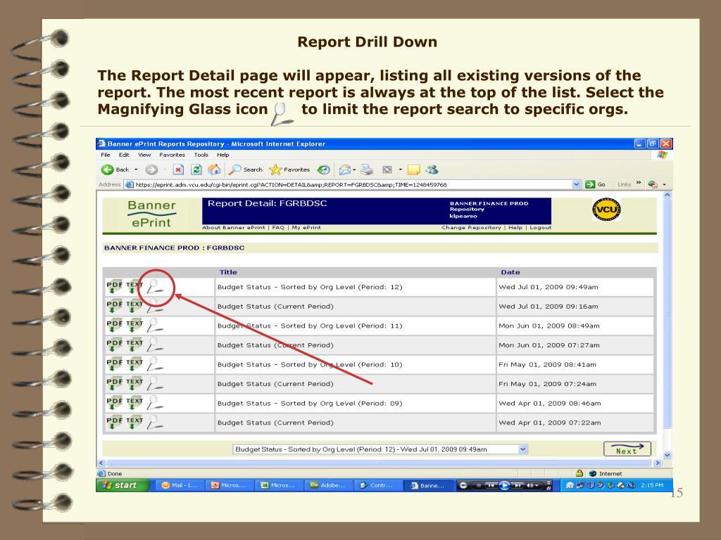 Report Drill Down