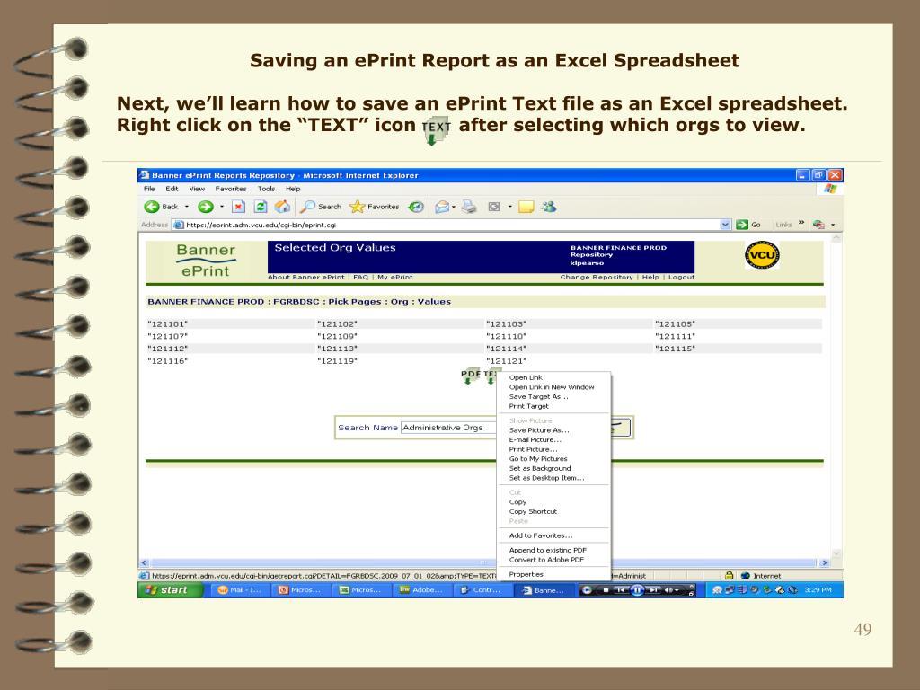 Saving an ePrint Report as an Excel Spreadsheet
