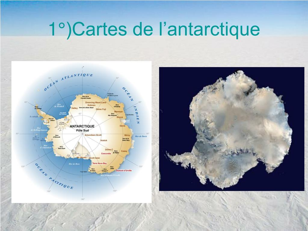 1°)Cartes de l'antarctique