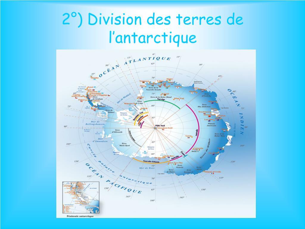2°) Division des terres de l'antarctique