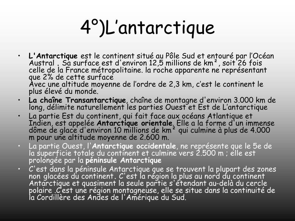 4°)L'antarctique
