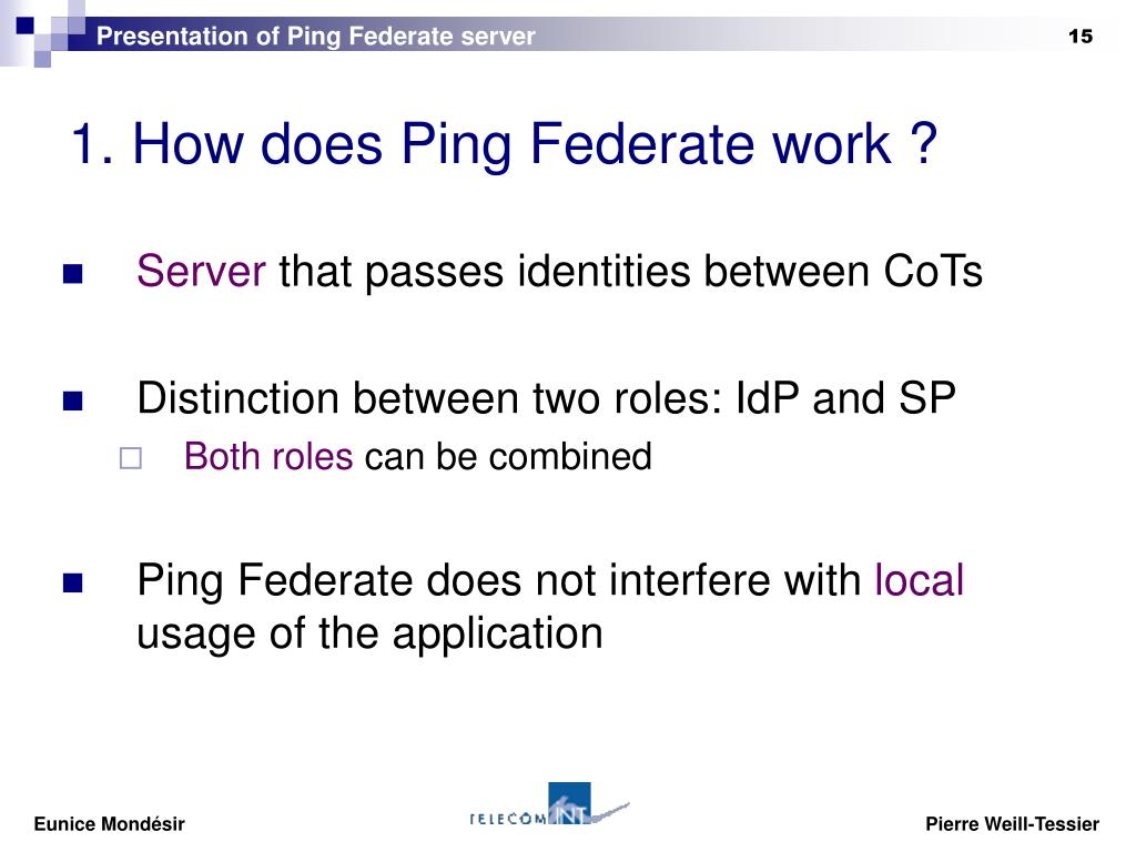 Presentation of Ping Federate server