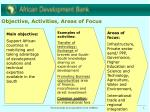 objective activities areas of focus