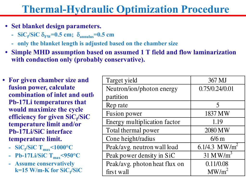 Thermal-Hydraulic Optimization Procedure