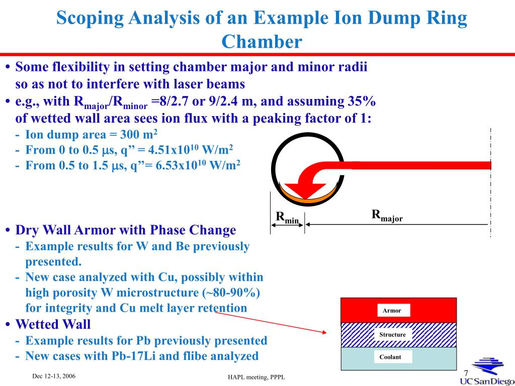 Scoping Analysis of an Example Ion Dump Ring Chamber