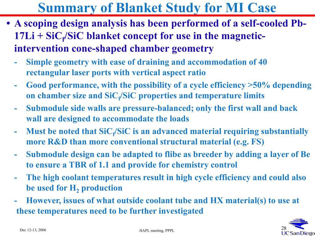 Summary of Blanket Study for MI Case