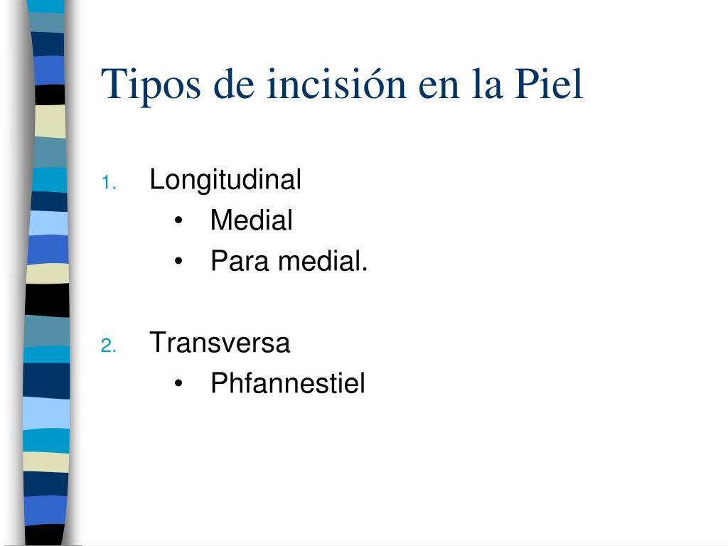 Tipos de incisión en la Piel