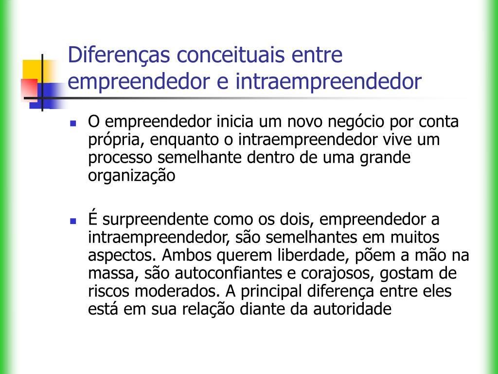 Diferenças conceituais entre empreendedor e intraempreendedor