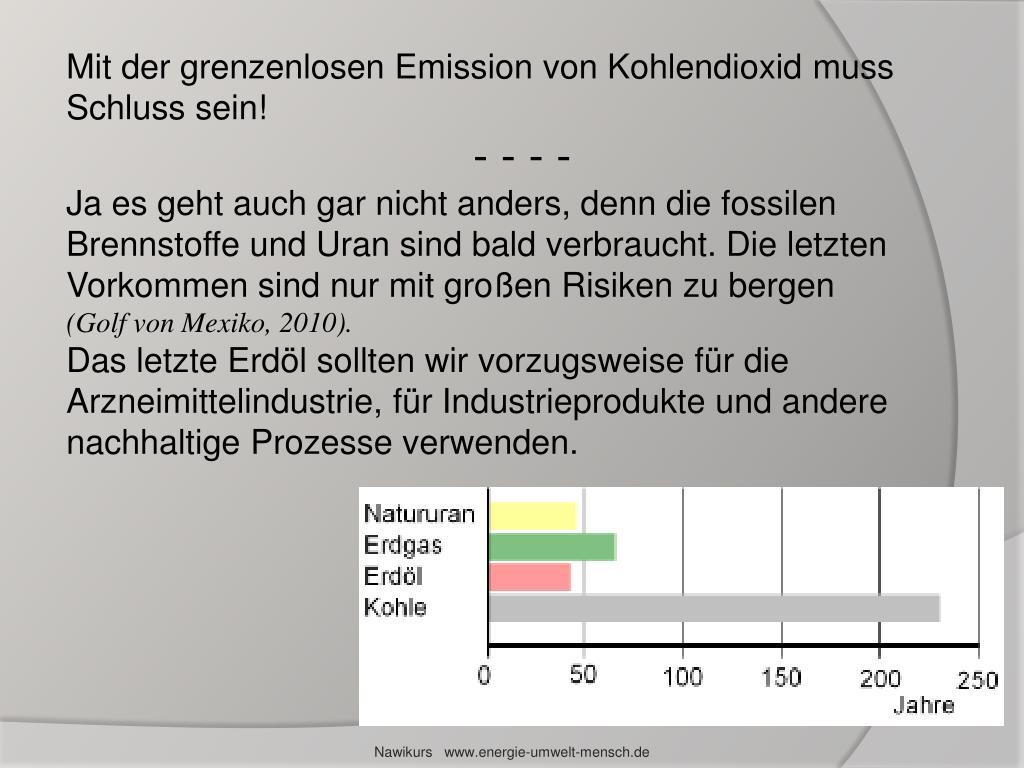 Mit der grenzenlosen Emission von Kohlendioxid muss Schluss sein!