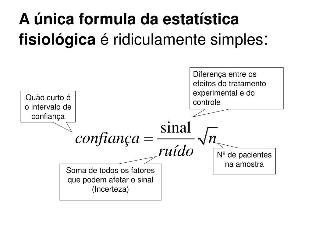 A única formula da estatística fisiológica