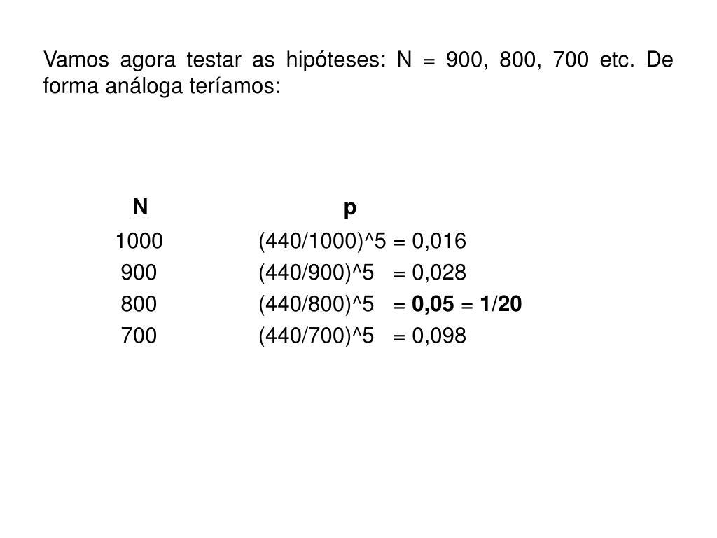 Vamos agora testar as hipóteses: N=900, 800, 700 etc. De forma análoga teríamos: