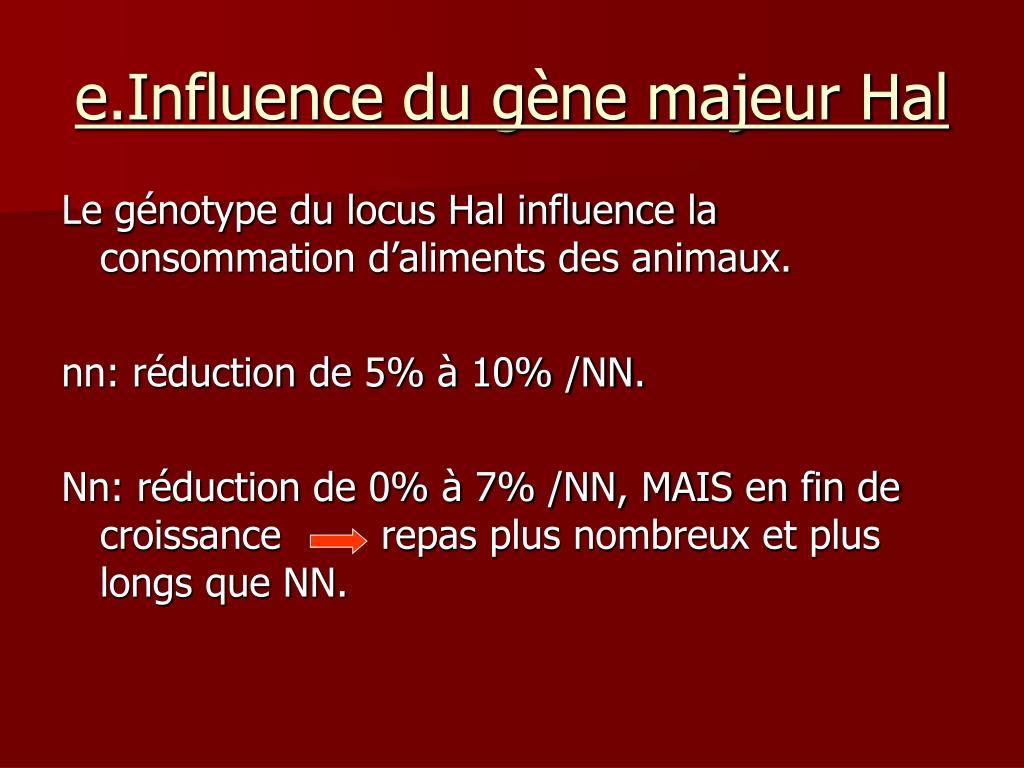 e.Influence du gène majeur Hal